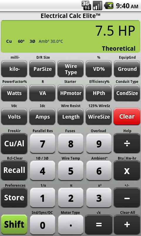 Electrical Calc Elite Electric - screenshot