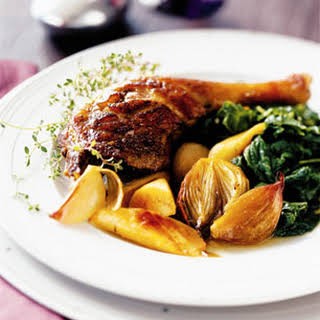 Braised Duck Legs with Shallots and Parsnips.