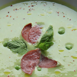Fresh Pea Soup with Bacon and Mint.