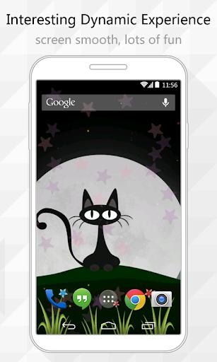 【免費個人化App】Night Cat Live Wallpaper-APP點子