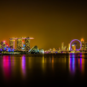 Night City Skyline  by Dhum Liriah - City,  Street & Park  Night ( cityscapes, long exposure, night, nightscapes, slow shutter )