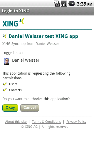 XING Sync - screenshot