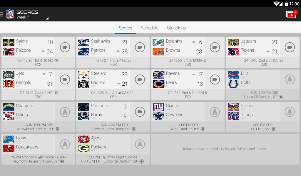nfl schedule today nfl game scores today