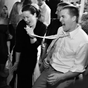 Singing in a tie by Kristin Cheatwood - Wedding Reception ( reception, tie, singing, wedding, party )