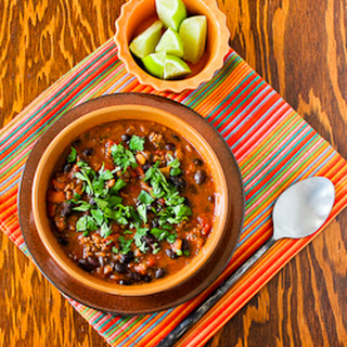 Crockpot Black Bean Chili with Lime and Cilantro Recipe