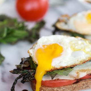 Roasted Asparagus Caprese Melts with Balsamic Reduction and Fried Egg