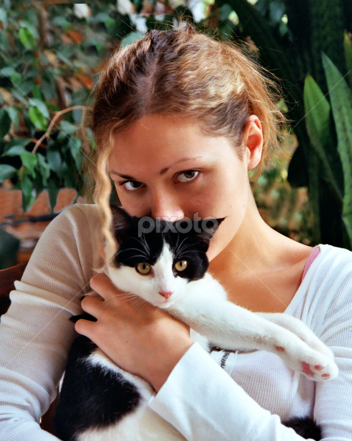 Dannie and Puddin' Pie by Jane Spencer - People Portraits of Women ( cat lover, companionship, friendship, dannie, tuxedo cat,  )