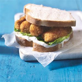 Quick And Easy Spiced Fish Finger Sandwich.