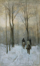 Riders in the Snow in the Haagse Bos