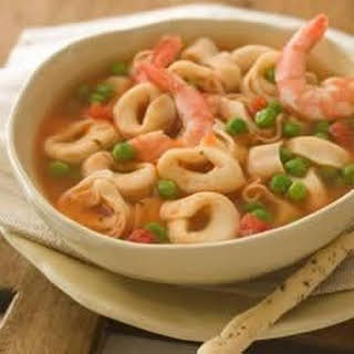 Cheese Tortellini Soup with Shrimp.
