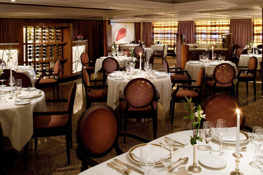 Seabourn_The_Restaurant_SU6 - The Restaurant features a wide variety of dishes prepared to your order by veteran chefs. The venue serves breakfast, lunch and dinner on an open-seating basis, inviting Seabourn guests to dine when,  where and with whom they wish. (Note: Casual jeans are discouraged in The Restaurant after 6 pm.)