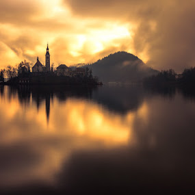 Awakening by Rafael Kos - Landscapes Sunsets & Sunrises ( church, bled, reflections, lake, morning )
