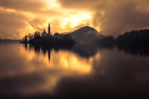 Awakening by Rafael Kos - Landscapes Sunsets & Sunrises ( church, bled, reflections, lake, morning )