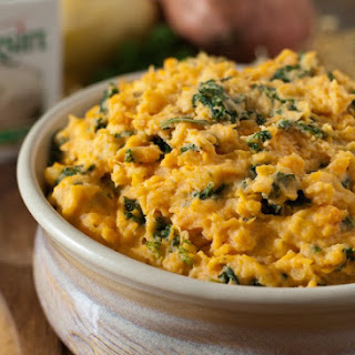 Mashed Sweet Potatoes with Kale and Boursin Cheese