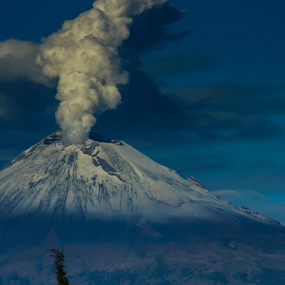 Popocataepetl  and Church by Cristobal Garciaferro Rubio - Landscapes Mountains & Hills ( volcano, popo, volca, snowy volcano, smoking volcano )