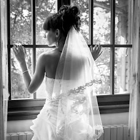 Waiting for by Luca Bonisolli - Wedding Bride ( window, dream, wedding, bw, bride )