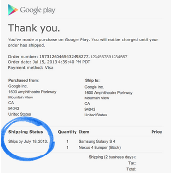 Play order confirmation email