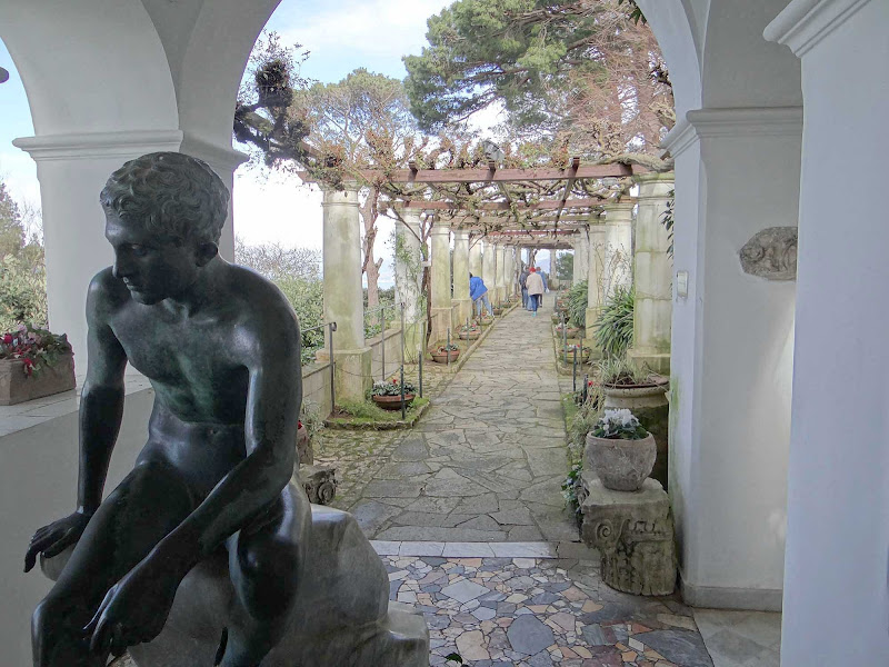 A garden path and statue on the island of Capri, Italy.
