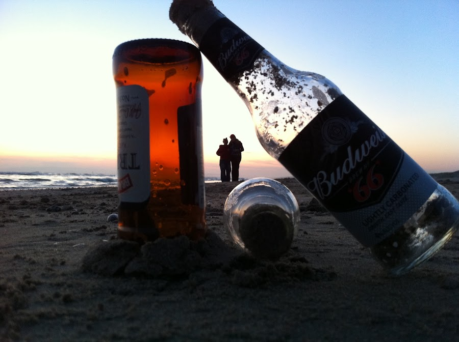 Sunset  by Ian Daniells - Novices Only Landscapes ( sand, sunset, alcohol, beach, bottle,  )
