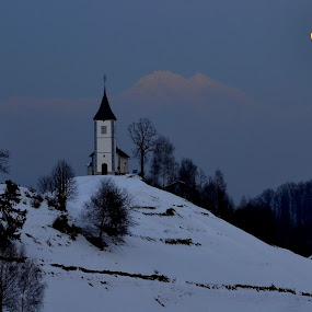 Church of St. Primoz on Jamnik at fool moon by Silva Predalič - Buildings & Architecture Public & Historical ( , snow, winter, cold )