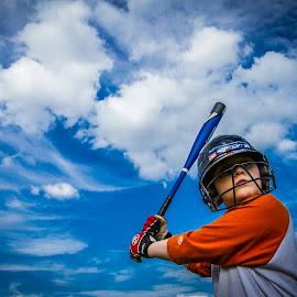 Playing in Heaven  by Matthew Lemke - Sports & Fitness Baseball ( clouds, sky, blue sky, gorgeous, blue, baseball, beautiful, sports, kids, Travel, People, Lifestyle, Culture )