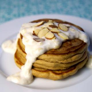 Almond Protein Pancakes With Banana Cream Sauce.