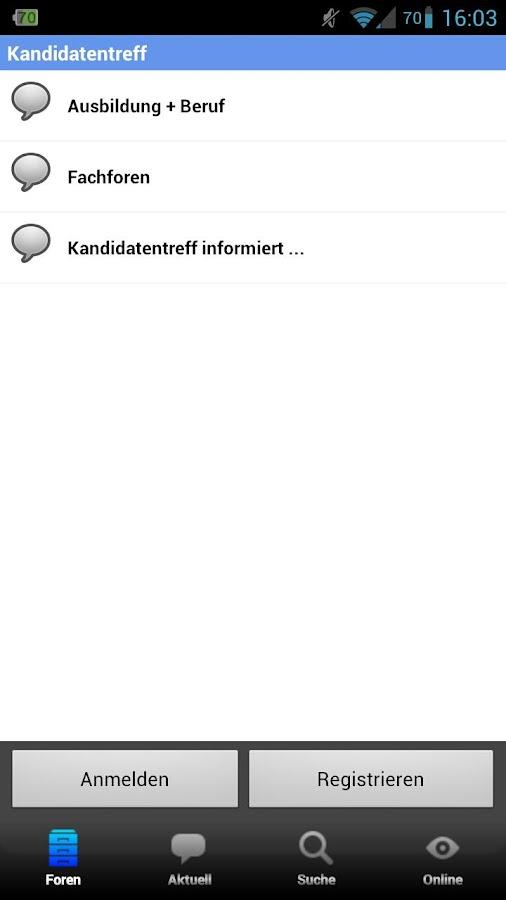 Kandidatentreff - Forum- screenshot