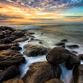 Hard Waves by Ade Noverzan - Landscapes Waterscapes ( sunset, waves, beach, stones, dusk )