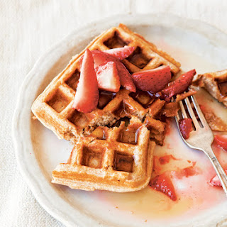 Whole-Wheat Waffles with Honeyed Strawberries.
