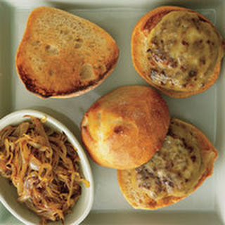 Bacon-Bit Burgers with Smoked Gouda and Steak House-Smothered Onions.