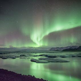 Northern Lights - Jokusarlon Glacier Lagoon, Iceland by Norman Leong - Landscapes Travel ( iceland, northern lights, aurora, jokusarlon )