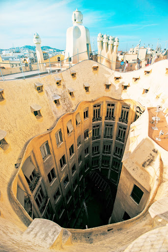 Tere-Moana-Barcelona-Casa-Mila - Take a Tere Moana cruise to Barcelona and visit this roof architecture at Casa Milà by Antoni Gaudí, Barcelona's most famous architect.