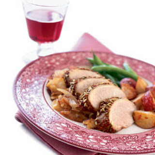 Pork Tenderloin with Roasted Apples and Onions.