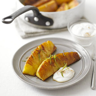 Spiced Glazed Pineapple With Cinnamon Fromage Frais.