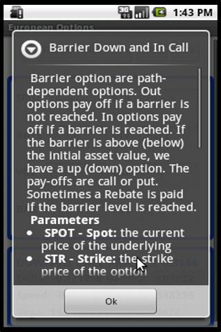 European Options- screenshot