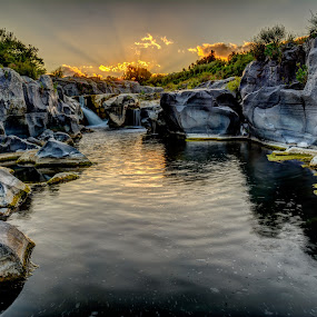By Gorge by Colin Harley - Landscapes Waterscapes ( water, lava, sigma, gorge, sunset, d5200, stones, nikon, rocks, river )