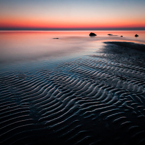 Feel the night by Eriks Zilbalodis - Landscapes Sunsets & Sunrises ( red, nature, sunset, seascapes, sea, night, seaside, stripes, stones )