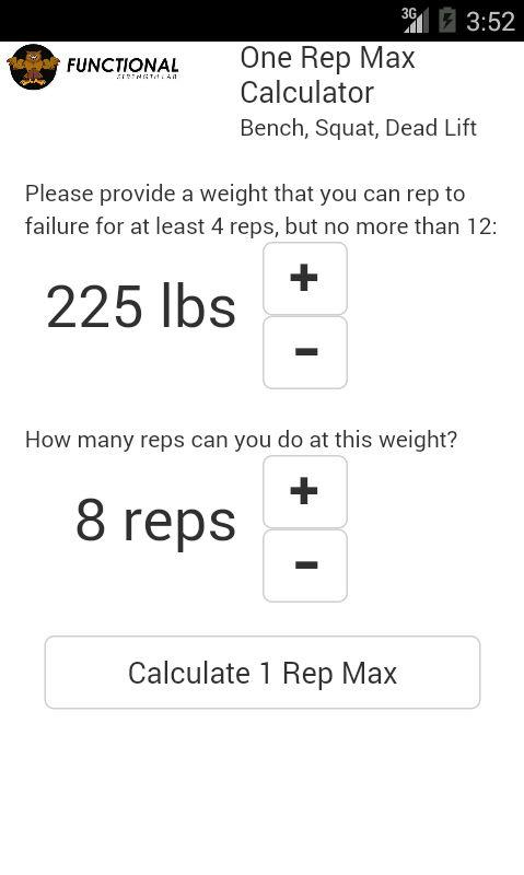 One Rep Max Calculator- screenshot