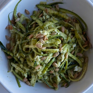 Shauna James Ahern's Zucchini Noodles with Spinach Pesto, Feta, and Sunflower Seeds