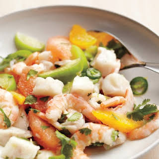 Shrimp and Snapper Seviche with Tomatillos.