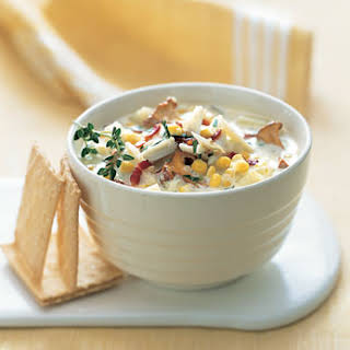 Crab-and-Corn Chowder with Bacon and Chanterelle Mushrooms.