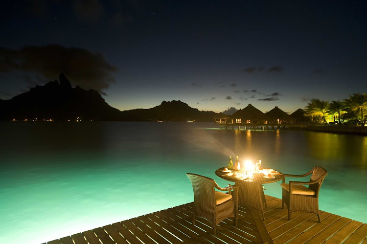 Bora Bora restaurants feature decks over the water. Perfect for evening dining.