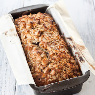 Banana Bread With Chocolate And Macadamia Nuts.