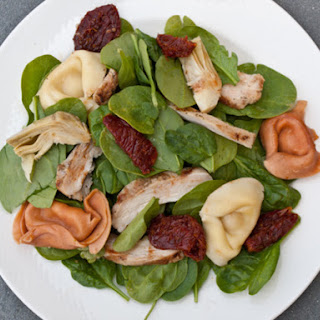 Tortellini, Chicken and Spinach Salad with Tomato-Balsamic Vinaigrette