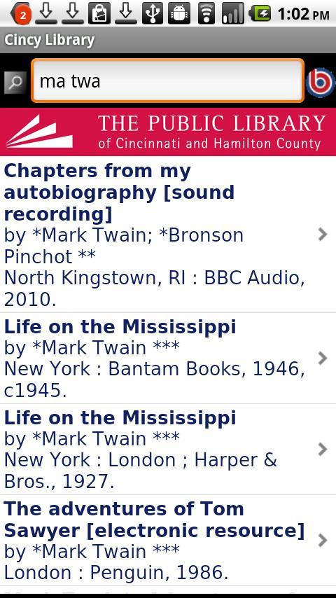 Cincinnati Public Library- screenshot