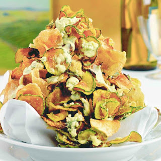 Zucchini Chips With Gorgonzola Cheese.