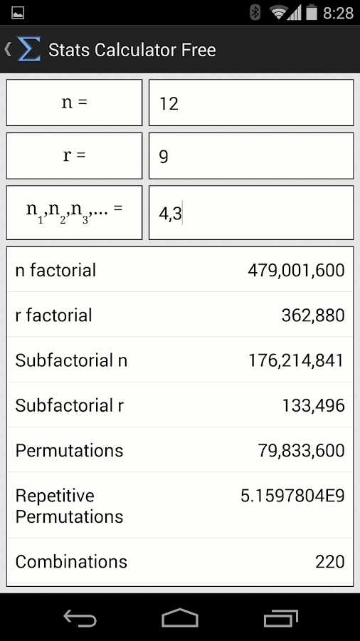 Stats Calculator Free - screenshot