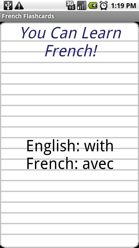 English to French Flashcards- screenshot