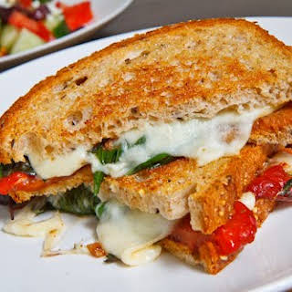 Marinated Roasted Red Pepper Grilled Cheese Sandwich.