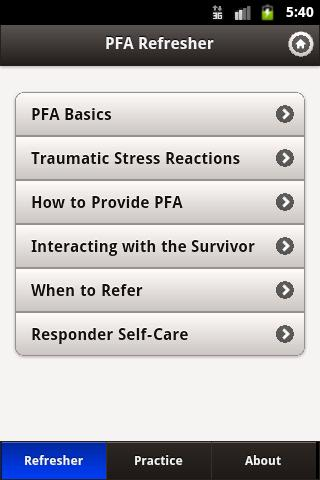 Psychological First Aid (PFA)- screenshot